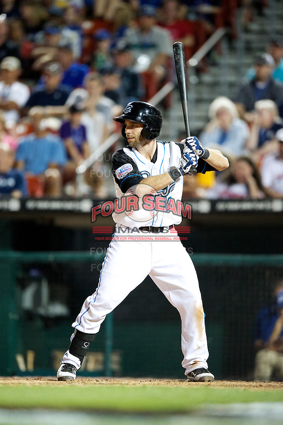 Syracuse Chiefs infielder Jim Negrych #8 during the Triple-A All-Star game featuring the Pacific Coast League and International League top players at Coca-Cola Field on July 11, 2012 in Buffalo, New York.  PCL defeated the IL 3-0.  (Mike Janes/Four Seam Images)