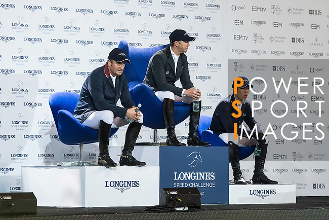 The temporary winning group in the Longines Speed Challenge during the Longines Masters of Hong Kong at AsiaWorld-Expo on 10 February 2018, in Hong Kong, Hong Kong. Photo by Diego Gonzalez / Power Sport Images