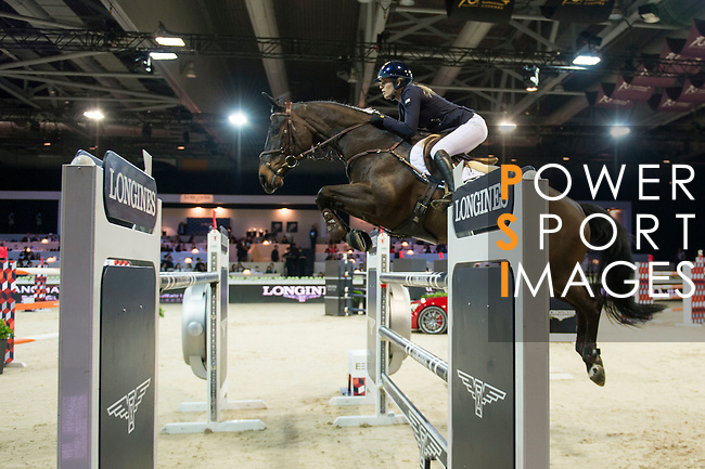 Jessica Mendoza on Spirit T competes during the Table A with Jump-off 145 - Airbus Trophy at the Longines Masters of Hong Kong on 20 February 2016 at the Asia World Expo in Hong Kong, China. Photo by Li Man Yuen / Power Sport Images