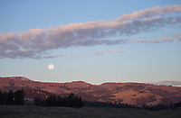 The moon sets over Yellowstone's northern range.