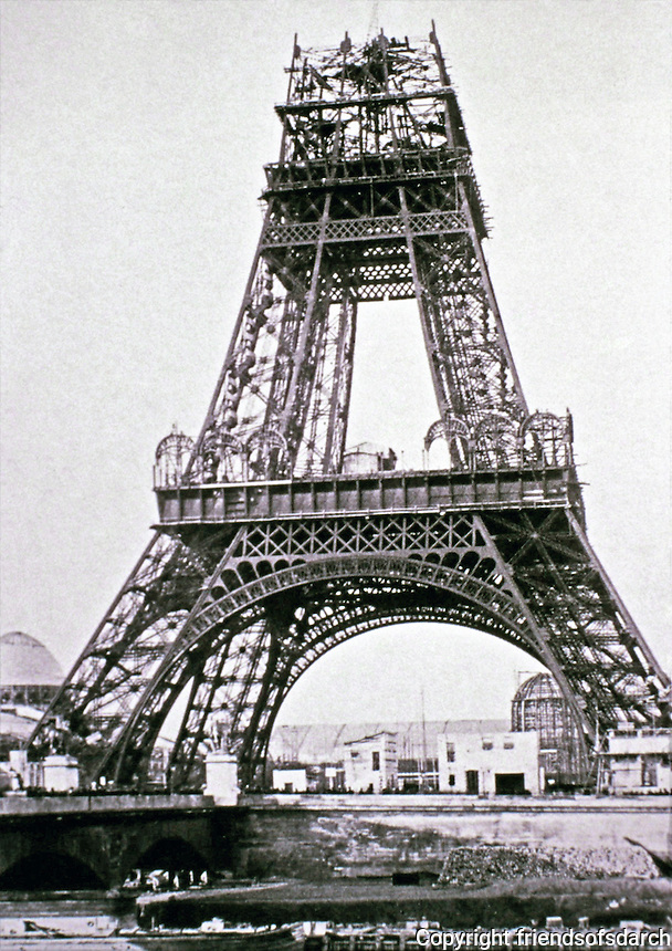 Eiffel Tower, designed and built by engineer Gustave Eiffel and company. Paris, France. Built 1887-1889 for 1889 World's Fair.