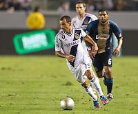 CARSON, CA - July 4, 2012: LA Galaxy midfielder Juninho (19) during the LA Galaxy vs Philadelphia Union match at the Home Depot Center in Carson, California. Final score LA Galaxy 1, Philadelphia Union 2.