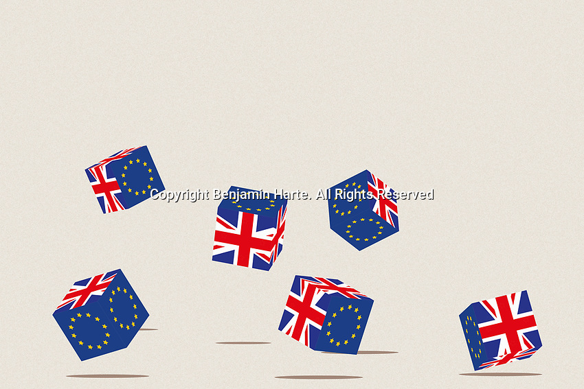 British and European Union flags on tumbling dice