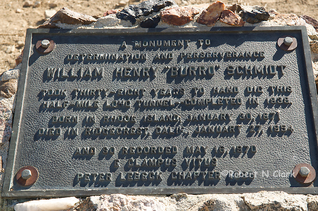 Monument marking the entrance to the Burro Schmidt Tunnel in the El Paso Mountains, Mojave Desert, California