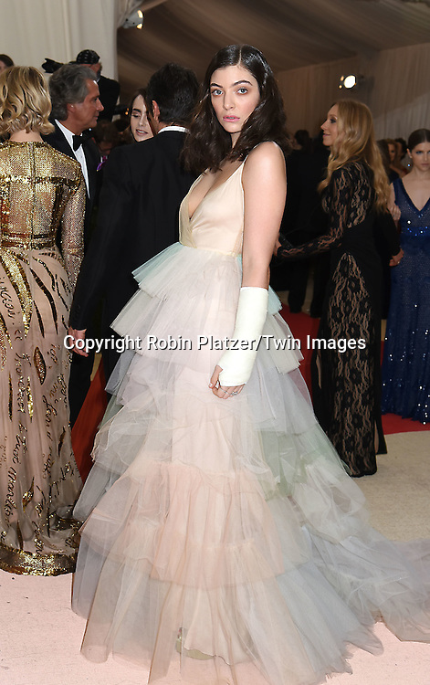 Lorde attends the Metropolitan Museum of Art Costume Institute Benefit Gala on May 2, 2016 in New York, New York, USA. The show is Manus x Machina: Fashion in an Age of Technology. <br /> <br /> photo by Robin Platzer/Twin Images<br />  <br /> phone number 212-935-0770