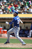 OAKLAND, CA - MAY 19:  Eric Hosmer #35 of the Kansas City Royals bats during the game against the Oakland Athletics at O.co Coliseum on Sunday May 19, 2013 in Oakland, California. Photo by Brad Mangin