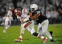 19 September 2015:  Penn State DT Austin Johnson (99) sacks Rutgers QB Chris Laviano (5) during the fourth quarter. The Penn State Nittany Lions defeated the Rutgers Scarlett Knights 28-3 at Beaver Stadium in State College, PA.
