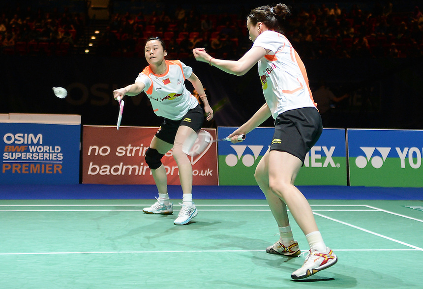 Shu CHENG [CHN] and Yunlei ZHAO [CHN] in action today during their defeat to Xiaoli WANG [1][CHN] and Yang (F) YU [CHN]  in their Woman's Doubles Final match. Xiaoli WANG [1][CHN] and Yang (F) YU [CHN]  bt Shu CHENG [CHN] and Yunlei ZHAO [CHN]  21-18 21-10..BWF -  2013 Yonex All England Badminton Championships Super Series Premier - The National Indoor Arena - Birmingham - England - Sunday 10th March 2013..© CameraSport - 43 Linden Ave. Countesthorpe. Leicester. England. LE8 5PG - Tel: +44 (0) 116 277 4147 - admin@camerasport.com - www.camerasport.com
