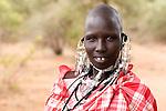 TANZANIA. Longido Mountain Area..August 3rd 2009..A Maasai women..