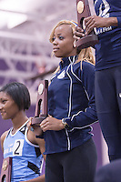 Yanique Haye with her runner-up trophy in the 400 meters.