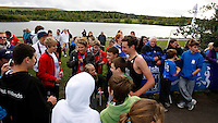 Photo: Richard Lane/Richard Lane Photography. GE Parc Bryn Bach Triathlon. 19/09/2010. Alistair Brownlee poses with spectators after the Elite Mens' race