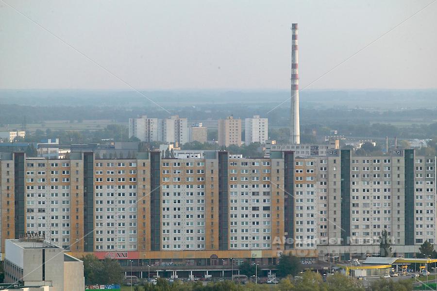 Europe, Slovakia, capitol city - Bratislava. Endless prefab apartment blocks of Petrzalka suburb