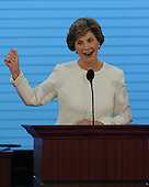 St. Paul, MN - September 1, 2008 -- First lady Laura Bush makes a fist as she appeals for aid for the Gulf Coast areas affected by Hurricane Gustav on day 1 of the 2008 Republican National Convention in Saint Paul, Minnesota on Monday, September 1, 2008..Ron Sachs / CNP.(RESTRICTION: NO New York or New Jersey Newspapers or newspapers within a 75 mile radius of New York City)