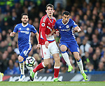 Chelsea's Pedro tussles with Middlesbrough's Marten de Roon during the Premier League match at Stamford Bridge Stadium, London. Picture date: May 8th, 2017. Pic credit should read: David Klein/Sportimage