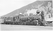 D&amp;RGW K-28 #476 with phony diamond stack and large headlight at Silverton.  Dressed for movie &quot;Run For Cover&quot; as #7.<br /> D&amp;RGW  Silverton, CO  1955