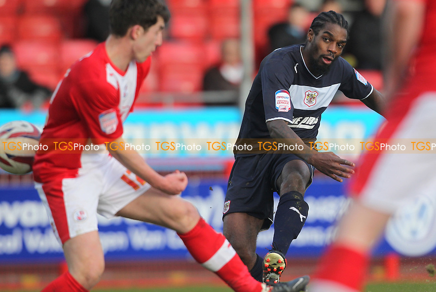 Anthony Grant of Stevenage has a shot at goal - Crawley Town vs Stevenage - NPower League One Football at the Broadfield Stadium, Crawley, West Sussex - 29/03/13 - MANDATORY CREDIT: Simon Roe/TGSPHOTO - Self billing applies where appropriate - 0845 094 6026 - contact@tgsphoto.co.uk - NO UNPAID USE