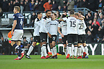 Curtis Davies, Tom Huddleston and Andreas Weimann celebrate Derby County's third goal with team mates during the championship league match between Derby and Millwall at Pride Park Stadium, Derby. Picture date 23rd December 2017. Picture credit should read: Joe Perch/Sportimage