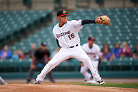 Rochester Red Wings pitcher Jose Berrios (16) delivers a pitch during a game against the Buffalo Bisons on July 8, 2015 at Frontier Field in Rochester, New York.  Rochester defeated Buffalo 6-5.  (Mike Janes/Four Seam Images)
