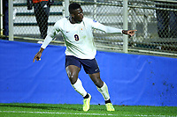 CARY, NC - DECEMBER 13: Daryl Dike #9 of University of Virginia reacts after scoring his first goal during a game between Wake Forest and Virginia at Sahlen's Stadium at WakeMed Soccer Park on December 13, 2019 in Cary, North Carolina.