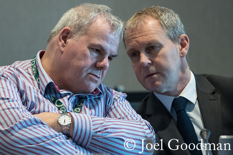 © Joel Goodman - 07973 332324 . FILE PICTURE DATED 27/10/2017 of RICHARD FARNELL (left) , former leader of Rochdale City Council , at the Lowry Centre in Salford . Farnell faces a police investigation after the Rochdale Sex Abuse enquiry today (12th April 2018) published its report which said that he lied to them whilst under oath . The report in to sexual abuse by men, including MP Cyril Smith , at Knowl View School was published today, 12th April 2018 . Photo credit : Joel Goodman