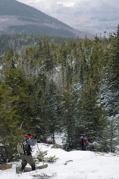 Hikers on Davis Path, near Mount Crawford, in Hadley's Purchase, New Hampshire USA.