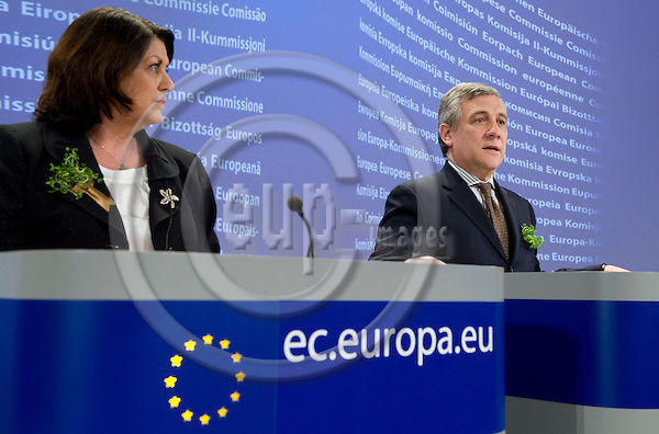 Brussels-Belgium - March 17, 2010 -- Antonio TAJANI (ri), one of the Vice-Presidents of the European Commission, from Italy, and in charge of Industry and Entrepreneurship, with Máire (Maire) GEOGHEGAN-QUINN (le), European Commissioner from Ireland and in charge of Research, Innovation and Science, during a joint press conference in the HQ of the EC -- Photo: Horst Wagner / eup-images