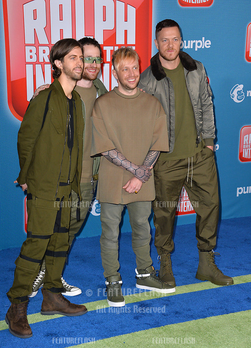 "LOS ANGELES, CA. November 05, 2018: Imagine Dragons at the world premiere of ""Ralph Breaks The Internet"" at the El Capitan Theatre.<br /> Picture: Paul Smith/Featureflash"