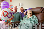 Brothers Pat and Michael Fitzgerald and their mother Hannah Mary Fitzgerald on her 100th birthday at Tralee Community Hospital on Wednesday.