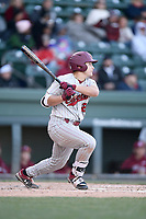 Second baseman Quinntin Perez (26) of the South Carolina Gamecocks bats in a game against the Furman Paladins on Tuesday, March 19, 2019, at Fluor Field at the West End in Greenville, South Carolina. South Carolina won, 12-7. (Tom Priddy/Four Seam Images)
