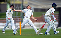 Wellington's Logan Van Beek bowls on day one of the Plunket Shield cricket match between the Wellington Firebirds and Otago Volts at Basin Reserve in Wellington, New Zealand on Monday, 21 October 2019. Photo: Dave Lintott / lintottphoto.co.nz
