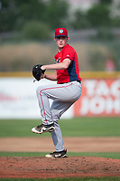 Orem Owlz starting pitcher John Swanda (5) delivers a pitch during a Pioneer League game against the Missoula Osprey at Ogren Park Allegiance Field on August 19, 2018 in Missoula, Montana. The Missoula Osprey defeated the Orem Owlz by a score of 8-0. (Zachary Lucy/Four Seam Images)