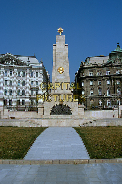 Soviet Army Memorial and Inter Europa Bank, Szabadsag Ter, Liberty Square, Budapest, Hungary