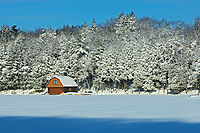 Boathouse onLake Rosseau in winter, Muskoka Country, Ontario, Canada