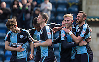 Paul Hayes (right) of Wycombe Wanderers celebrates his goal during the Sky Bet League 2 match between Wycombe Wanderers and Barnet at Adams Park, High Wycombe, England on 16 April 2016. Photo by Andy Rowland.
