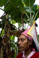 """Viviana (21 years old) the only practicing """"voladora"""" (flyer) in Zozocolco de Hidalgo Veracruz, Mexico. April 5, 2008"""