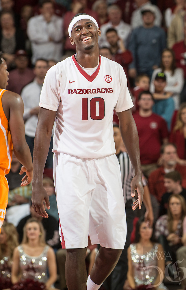 NWA Democrat-Gazette/ANTHONY REYES • @NWATONYR<br /> Bobby Portis, Arkansas sophomore, reacts to a call against Tennessee in the second half Tuesday, Jan. 27, 2015 at Bud Walton Arena in Fayetteville. The Razorbacks won 69-64.