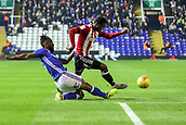1st November 2017, St. Andrews Stadium, Birmingham, England; EFL Championship football, Birmingham City versus Brentford; Jacques Maghoma of Birmingham City makes an important tackle