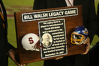 15 September 2007: The Bill Walsh Legacy Game trophy presentation during Stanford's 37-0 win over San Jose State at Stanford Stadium in Stanford, CA.