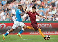 Calcio, Serie A: Napoli vs Roma. Napoli, stadio San Paolo, 15 ottobre. <br /> Roma&rsquo;s Stephan El Shaarawy, right, is challenged by Napoli&rsquo;s Allan during the Italian Serie A football match between Napoli and Roma at Naples' San Paolo stadium, 15 October 2016. Roma won 3-1.<br /> UPDATE IMAGES PRESS/Isabella Bonotto