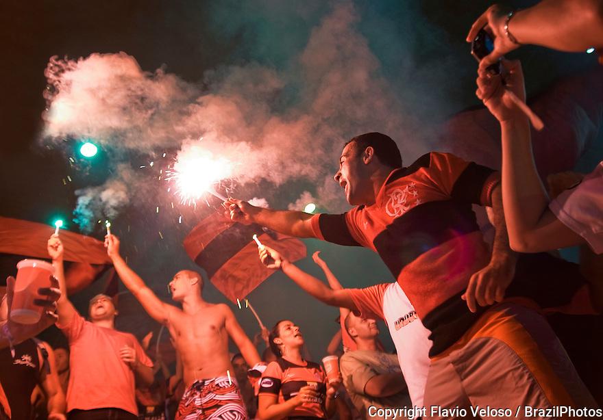 Flamengo fans celebrate victory with fireworks at Maracana stadium, Rio de Janeiro, Brazil