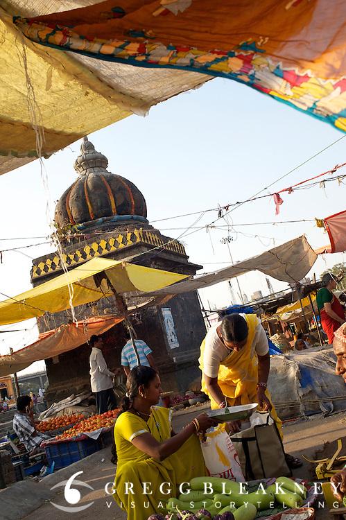 Market along the Godavari River Kumbhmela pilgrim site - Nashik, India