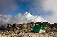 Barafu Camp on Kilimanjaro.  Barafu is one of the high camps before the summit and stands at 15,333 ft.