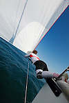 Training session for Franck Cammas and Groupama Sailing Team on M34 before the Spi Ouest in La Trinite sur Mer, France.