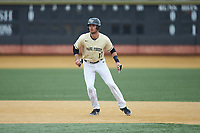Bruce Steel (17) of the Wake Forest Demon Deacons takes his lead off of second base against the Notre Dame Fighting Irish at David F. Couch Ballpark on March 10, 2019 in  Winston-Salem, North Carolina. The Demon Deacons defeated the Fighting Irish 7-4 in game one of a double-header.  (Brian Westerholt/Four Seam Images)