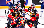 Stockholm 2014-09-17 Ishockey SHL Djurg&aring;rdens IF - Leksands IF :  <br /> Djurg&aring;rdens Mikael Ahl&eacute;n firar sitt 1-0 m&aring;l med Alexander Falk och Henrik Eriksson <br /> (Foto: Kenta J&ouml;nsson) Nyckelord:  Djurg&aring;rden DIF Hockey Globen Ericsson Globe Arena SHL Leksand LIF jubel gl&auml;dje lycka glad happy