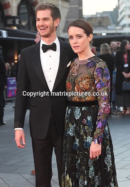 NON EXCLUSIVE PICTURE: MATRIXPICTURES.CO.UK<br /> PLEASE CREDIT ALL USES<br /> <br /> WORLD RIGHTS<br /> <br /> English actor Andrew Garfield and English actress Claire Foy attend the European Premiere of Breathe during 61st BFI London Film Festival Opening Night Gala in London.<br /> <br /> OCTOBER 4th 2017<br /> <br /> REF: RHD 172333