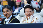 Japan's Emperor Naruhito and Empress Masako wave to well-wishers during their royal parade to mark the enthronement of Japanese Emperor Naruhito in Tokyo, Japan on Sunday, November 10, 2019. (Photo by AFLO)