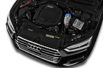 Car Stock 2018 Audi A5 Design 2 Door Convertible Engine  high angle detail view