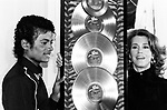 "Michael Jackson 1983 presented with the first Triple Platimum awards for the multi-platinum 'Thriller"" album by Jane Fonda..© Chris Walter."