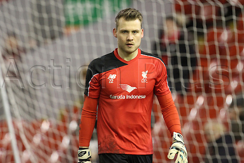 02.03.2016. Anfield Stadium, Liverpool, England. Barclays Premier League. Liverpool versus Manchester City. Simon Mignolet, Liverpool goalkeeper in the warm up
